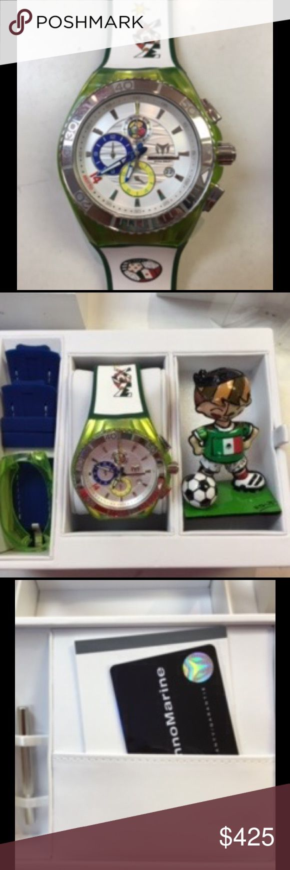 Technomarine Britto Mexico chronograph watch Wear your country colors ( for copa America, Olympics and rio 2016)) This watch is water resistant up to 660 feet. Has 2 bands and comes with little britto figurine. Bezel diameter is 42mm. Stainless steel. Technomarine Accessories Watches