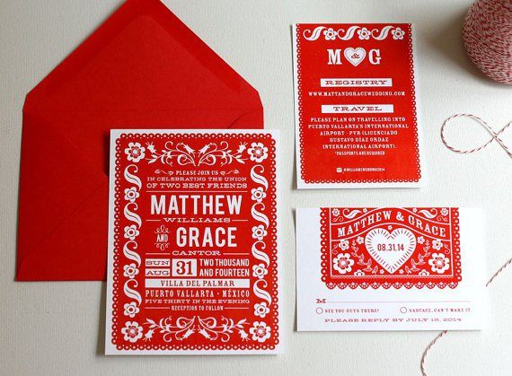 Red and white wedding invitation - http://themerrybride.org/2015/06/20/wedding-invitations-on-etsy-com-2/