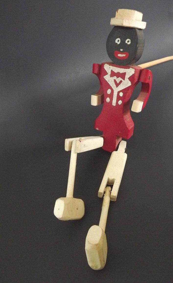 Vintage Dancing Stick Toy Black Americana Antique Wooden Toy Folk Art.