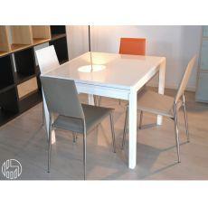 Kendy - Tavolo moderno in legno, piano in vetro, 90x90 cm, allungabile