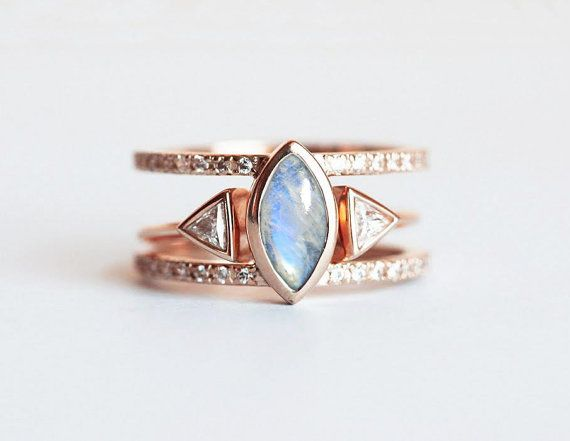 Moonstone Wedding Ring Set Rainbow Moonstone by capucinne on Etsy