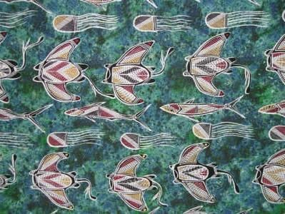 "Ausdesign Tablecloth - Freshwater Artist:  Jacob Robert Nakanuli (Ahwon) Artwork design story enclosed with tablecloth  suitable for a 6 seater dinner table  Rectangle - Dinner 206cm x 107cm (81"" x 42"") Australian Made - 100% Cotton Price - $50.00 each [incl GST]"