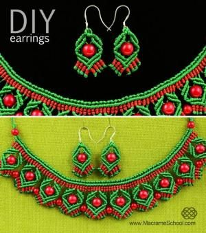 DIY Macrame Earrings with Diamonds and Beads. by wanting