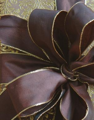 Mahogany and Gold Wired Ribbon by Carolyne Roehm