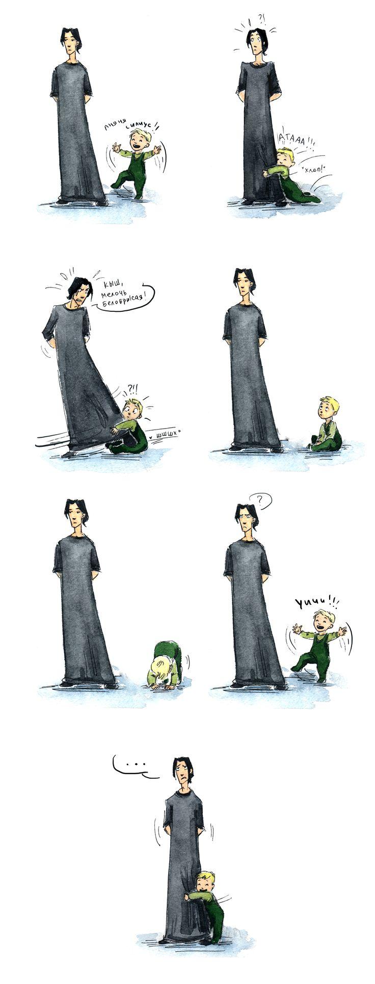 """""""Если бы Сириус [Блэк] был Пожирателем Смерти))"""". Рис. 48. """"безответная любовь"""". Художник – Большая Черепаха (vk.com/id31842295, http://nimue-18.livejournal.com/).  #Sirius #HP #Rowling #Draco #Malfoy"""