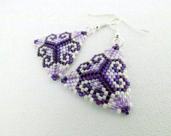 Beadwork Peyote Triangle Earrings Purple Violet Beaded Beadwoven Seed Bead Earrings