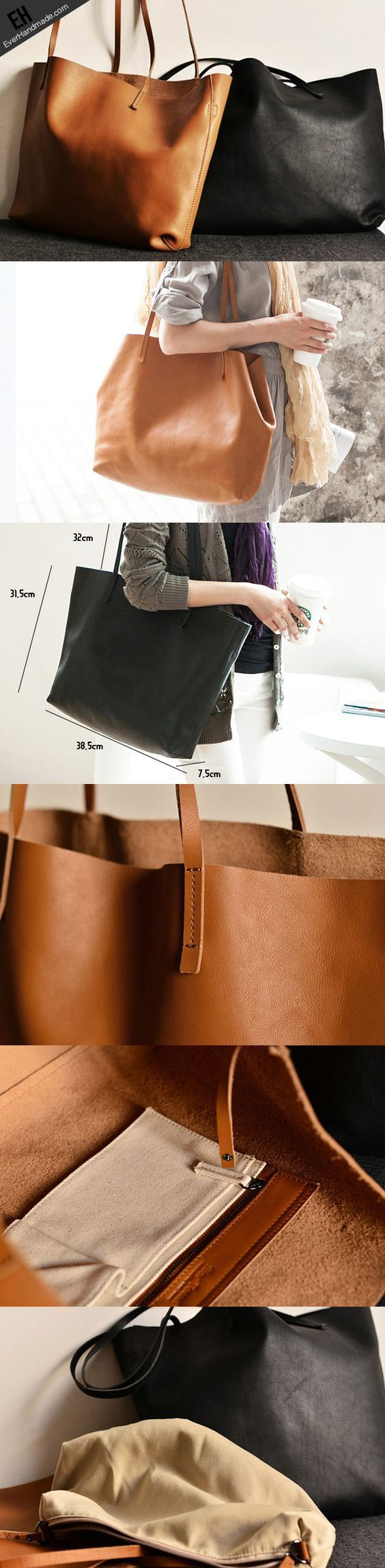 Handmade modern fashion leather big large tote bag shoulder bag handba   EverHandmade