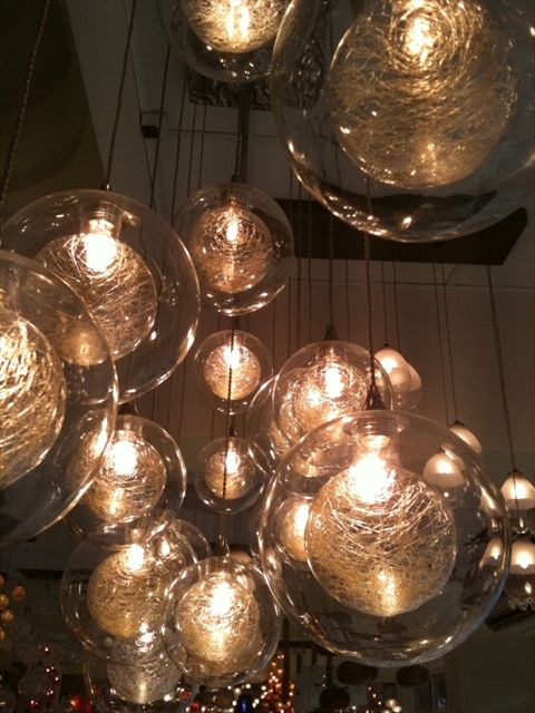 Hand blown bubble lights: Kadur Blown, Decor Ideas, Lights Fixtures, Pendants Chand, Globes, Pendants Lights, Bubbles Lights, Hands Blown Glasses Pendants, Glasses Blowing