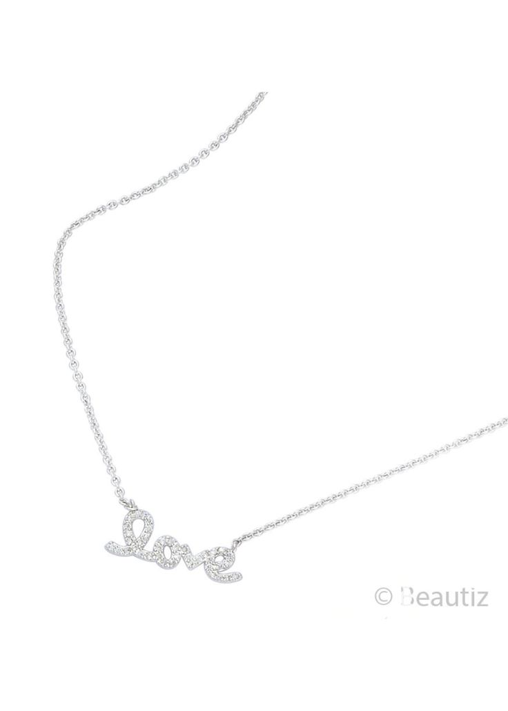 Sparkling Love Silver Necklace by Beautiz