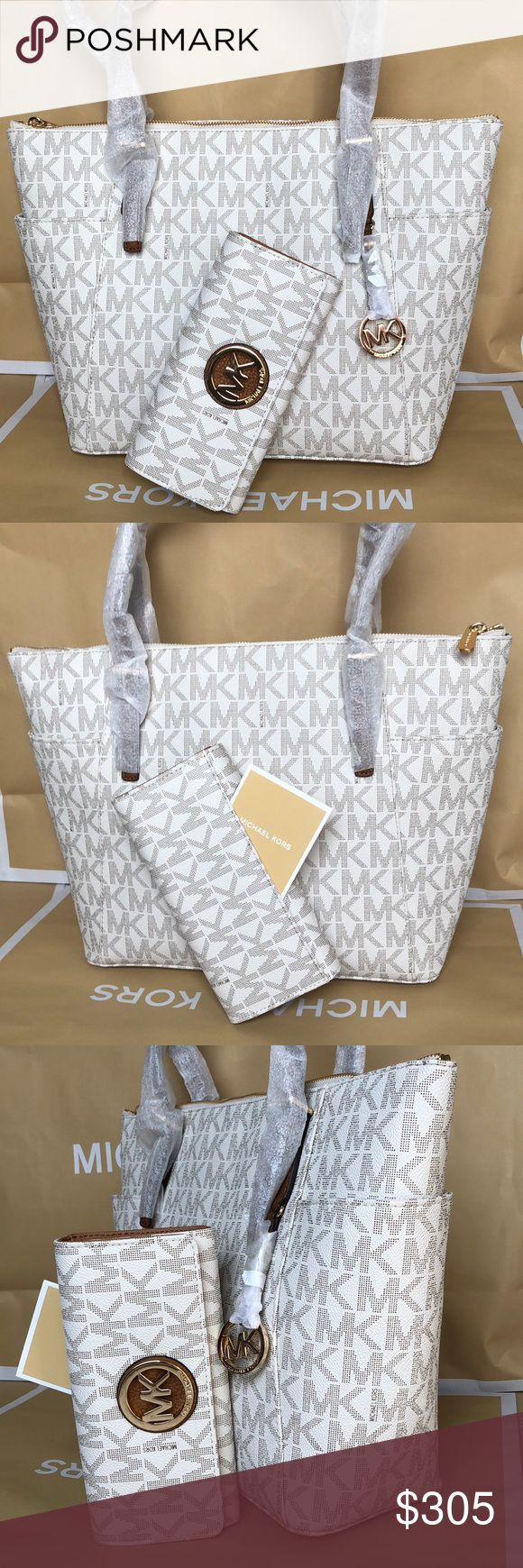 🌴Michael Kors Set🌴 100% Authentic Michael Kors Tote Bag and Wallet, brand new with tag!😍😍😍color Vanilla/Brown Michael Kors Bags Totes
