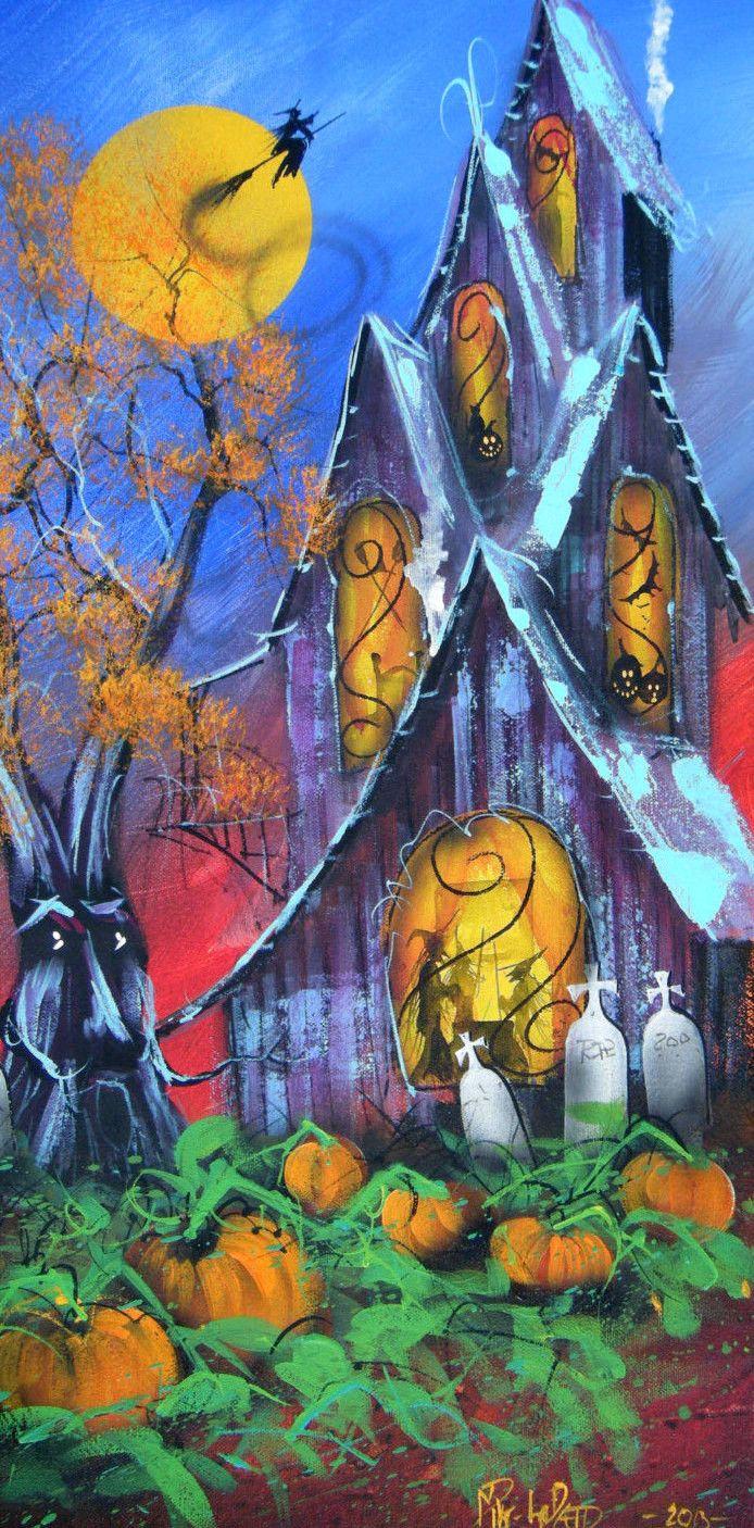 Original Halloween Folk Art Painting Witch Bat Ghost Pumpkin Spooky   eBay