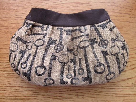 Burlap Buttercup Clutch, Purse, burlap bag, burlap purse, steampunk, skeleton keys