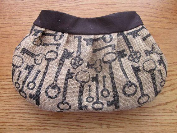 Burlap Buttercup Clutch, Purse, burlap bag, burlap purse, steampunk, skeleton keys