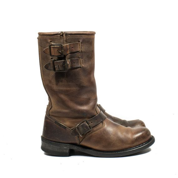 Vintage Harley Davidson Motorcycle Boots Brown Leather Engineer Boots Double Buckle Men sz 8 1/2 on Etsy, $148.00