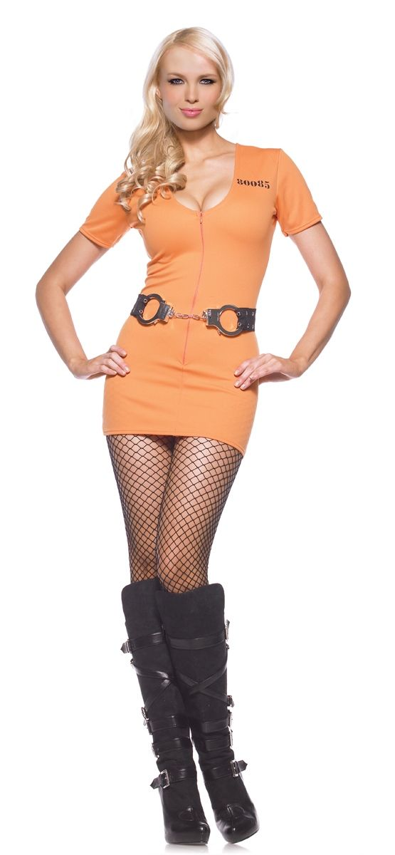 Sexy Convict Sexy Costume, The Sexy Convict Costume includes an orange, double zipper dress with print on the back. The handcuffs, ball and chair, shoes and tights are not included, but may be available separately.