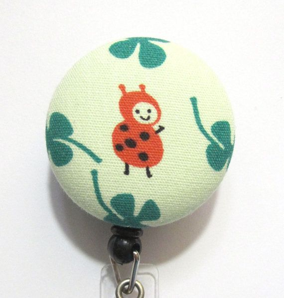 ladybug  fabric button retractable badge by sweetfairyboutique