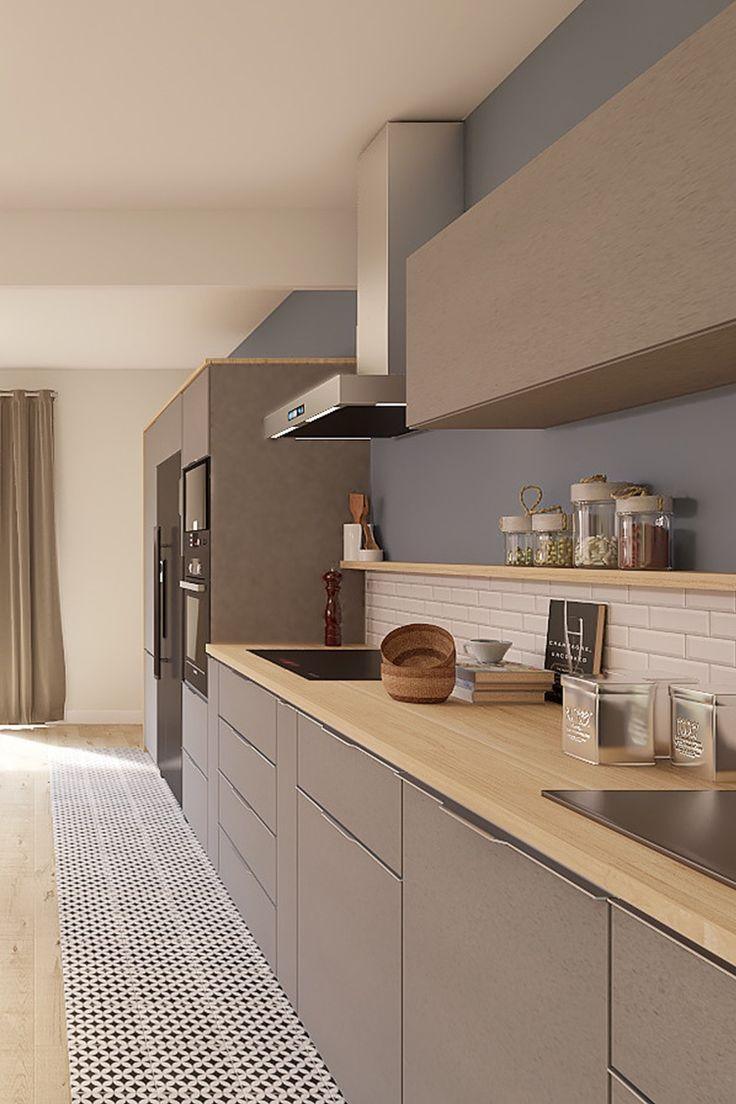 Projet 3d Réalisé Par Marion Une Pièce De Vie Style Design Et Contemporain Cuisine Design Tendance D Deco Cuisine Moderne Cuisine Moderne Cuisines Design
