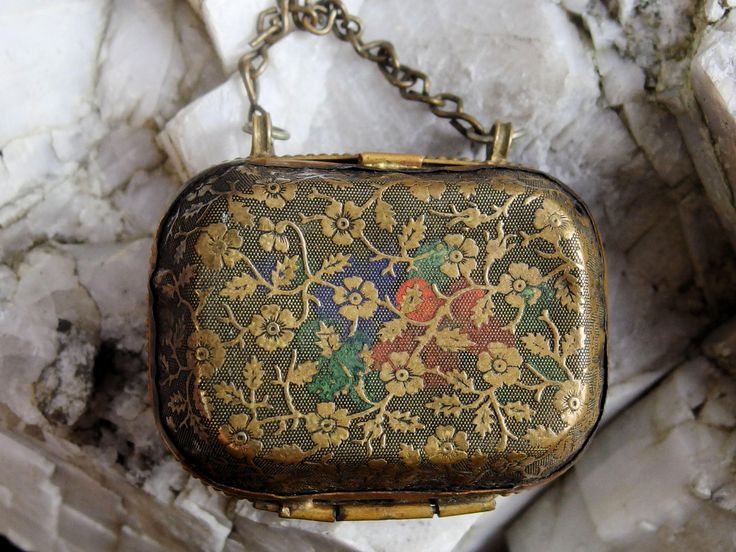 Victorian Embossed  Floral Sewing Etui or Thimble Case, Sterling Size 11 Thimble Inside, Velvet and Satin Lined Case, Brass Chain Handle by postGingerbread on Etsy
