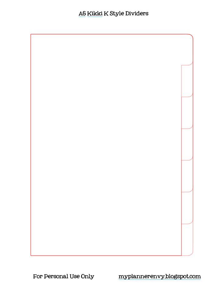 A5 Kikki K Style Planner Dividers - Free Printable PDF and Template for Silhouette - My Planner Envy