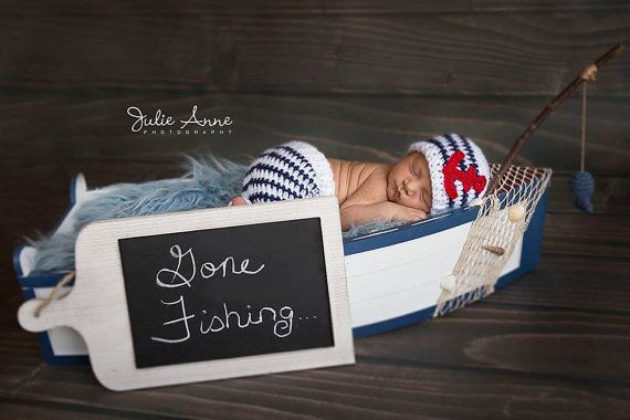 Made to Order - Sailor Outfit for Newborn - Sailor Hat and Pant Set - Nautical Theme Outfit for Newborns - Sailor Hat - Baby Boy Props