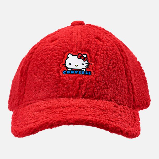 b10726db1d28d Alternate view of Converse x Hello Kitty Sherpa Baseball Hat in Fiery Red