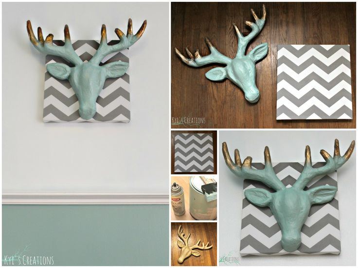 DIY Art Work ~Chevron Canvas from Target ~Paper Mache' Stag Head from Michael's ~Paint to coordinate with room ~Spray Paint tip of antlers with Metallic Paint ~Attach to canvas with Hot Glue Gun