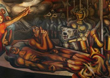 Torment of cuauhtemoc by david alfaro siqueiros art i for Mural siqueiros