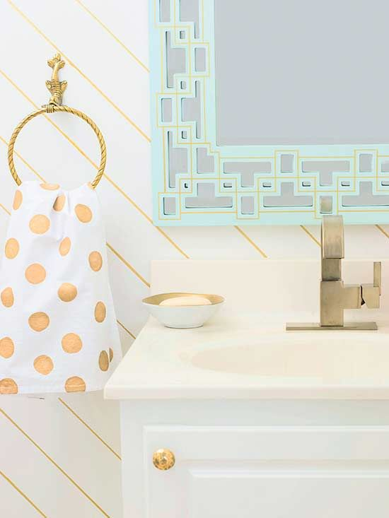 Powder Room with Sharpie Wallpaper and Mirror Details