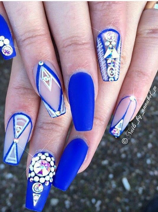 Royal blue rhinestone matte nails design nailart