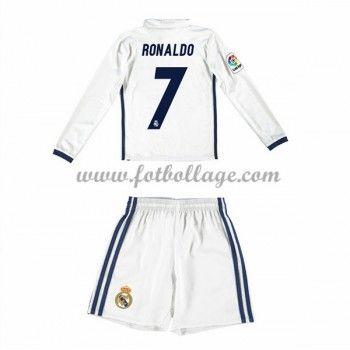 Real Madrid Fotbollströjor Barn 2016-17 Ronaldo 7 Hemma Matchtröja Långärmad