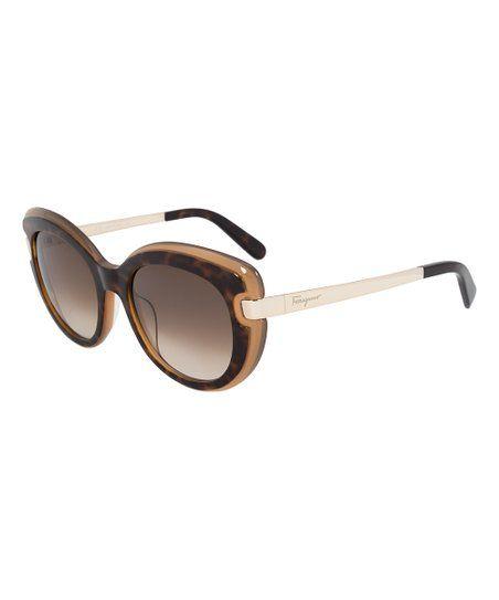 9c889e642a Salvatore Ferragamo Havana   Amber Cat Eye Sunglasses