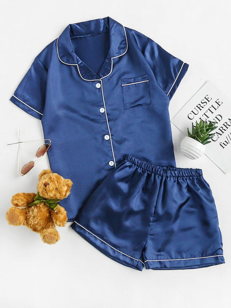 Shop Contrast Binding Revere Collar Satin Pajama Set online. SheIn offers Contrast Binding Revere Collar Satin Pajama Set & more to fit your fashionable needs.