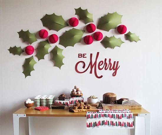 DIY holiday holly wall...whoa, LOVE this!!