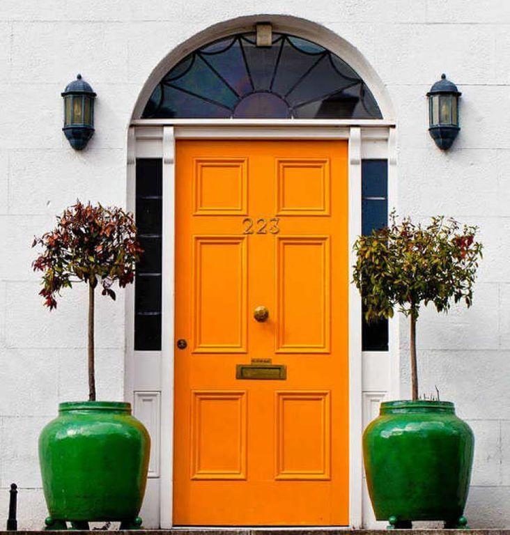 Eclectic Front Door with Transom window, Ceramic Oriental Fishbowl Planter in Jade Green