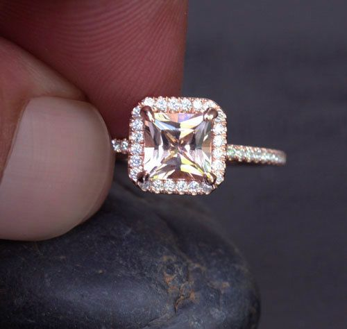 14k Rose Gold 6mm Morganite Princess Cut and Diamonds Emerald Cut Halo Ring (Choose color and size options at checkout) on Etsy, $750.00