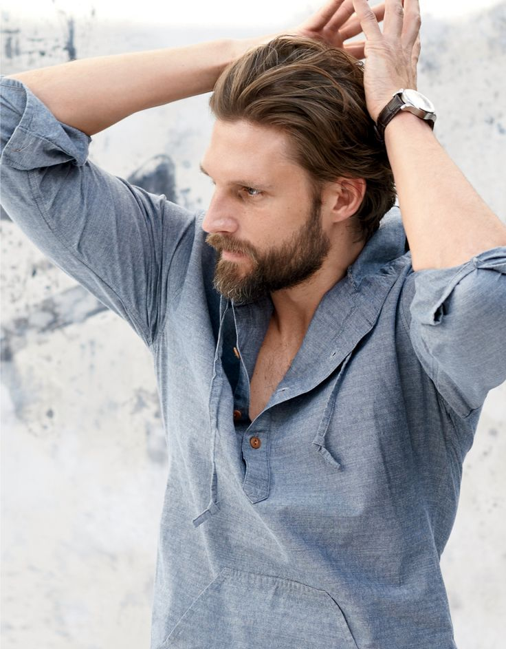 J.Crew men's chambray Baja shirt in Aegean sea.
