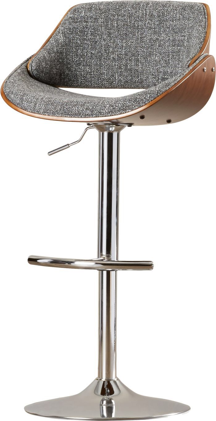 Features:  -360 Degree swivel.  -Style: Mid-Century modern.  -Rich walnut wood back finish.  Frame Material: -Metal.  Frame Finish: -Chrome.  Seat Material: -Fabric.  Style: -Contemporary.  Seat Style