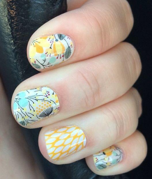 #blue #yellow #pretty #nail #art