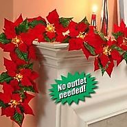 Cheap Christmas Garland With Lights | Cordless Lighted Poinsettia Garland