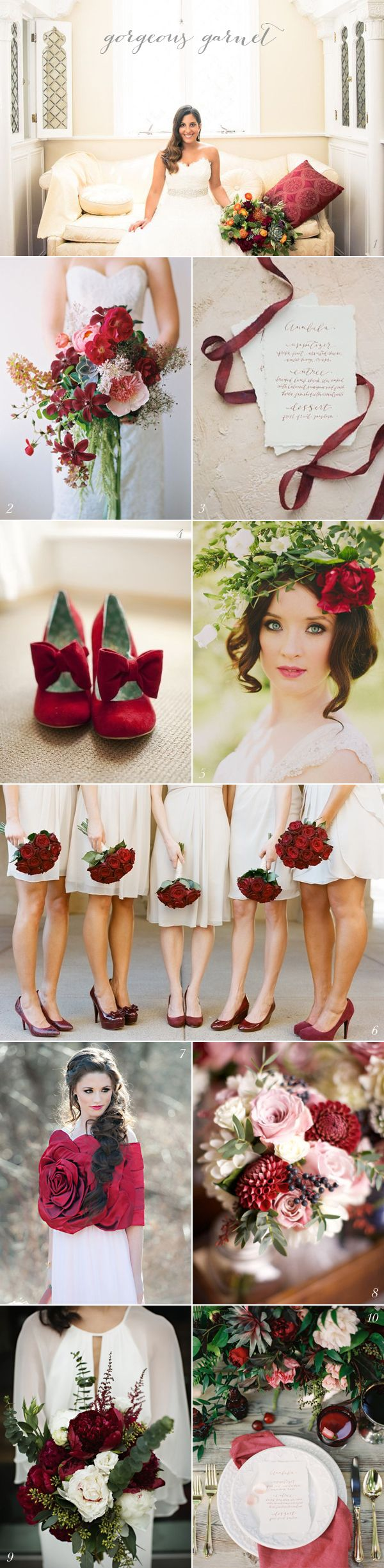 .Garnet Wedding Colors. This one pin could change your whole idea. This is how you do RED in a wedding!.