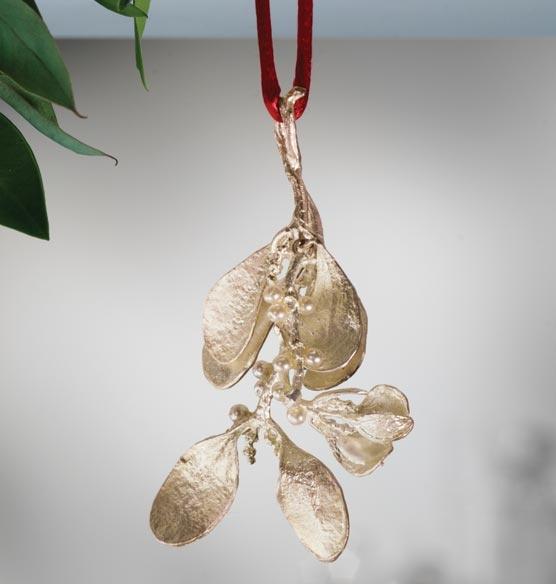 Silver Mistletoe Ornament