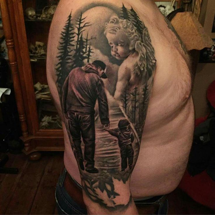 Jason Stieva, Sinful Inflictions Tattoo, Realistic  Nature  Tattoo of an Angel looking over a Father and Son walking in Nature