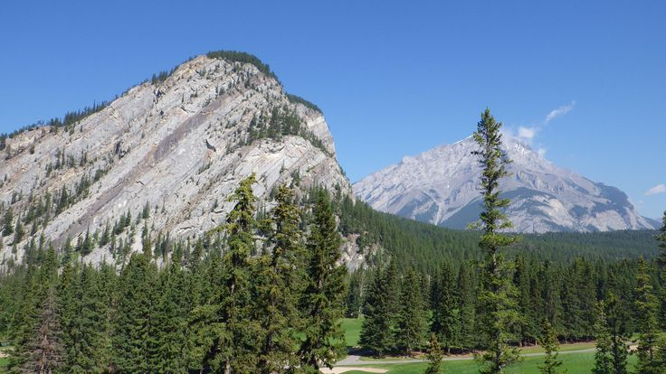 Cascade mountain (back), Stoney Squaw (front) Banff National Park, with Yamnuska Mountain Adventures  #BanffSprings125