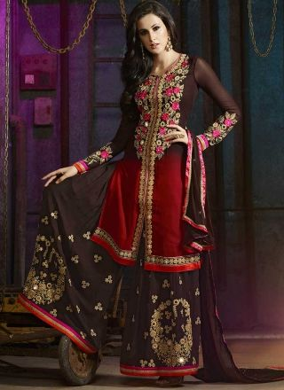 Red Brown Embroidery Work Georgette Designer Wedding Palazzo Pakistani Suit http://www.angelnx.com/Salwar-Kameez/Pakistani-Suits