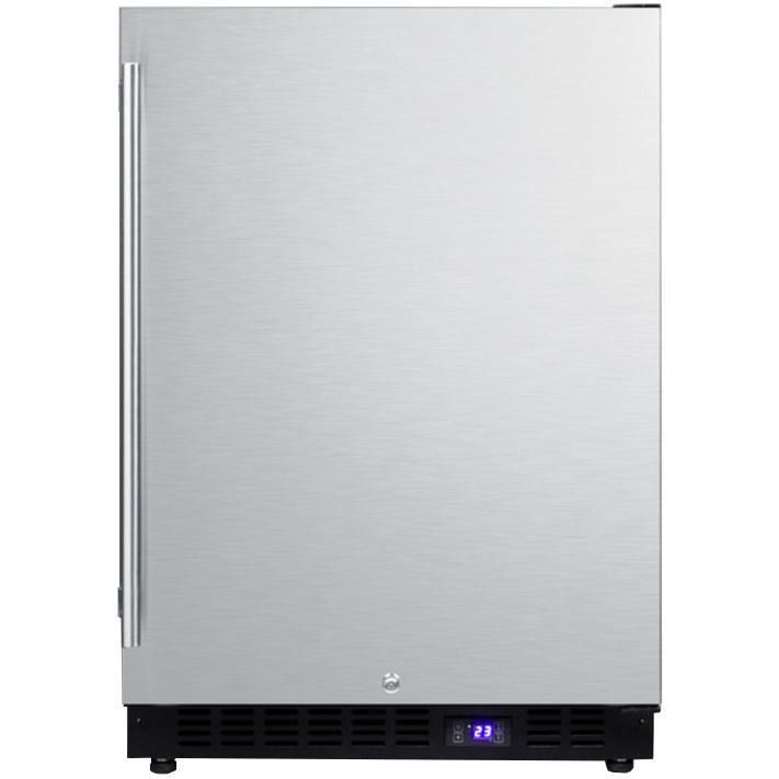 Summit 24 Inch 3 72 Cu Ft Outdoor Rated Compact Freezer With Ice Maker Stainless Steel Spff51oscssim Black Cabinets Outdoor Refrigerator Outdoor Kitchen Cabinets
