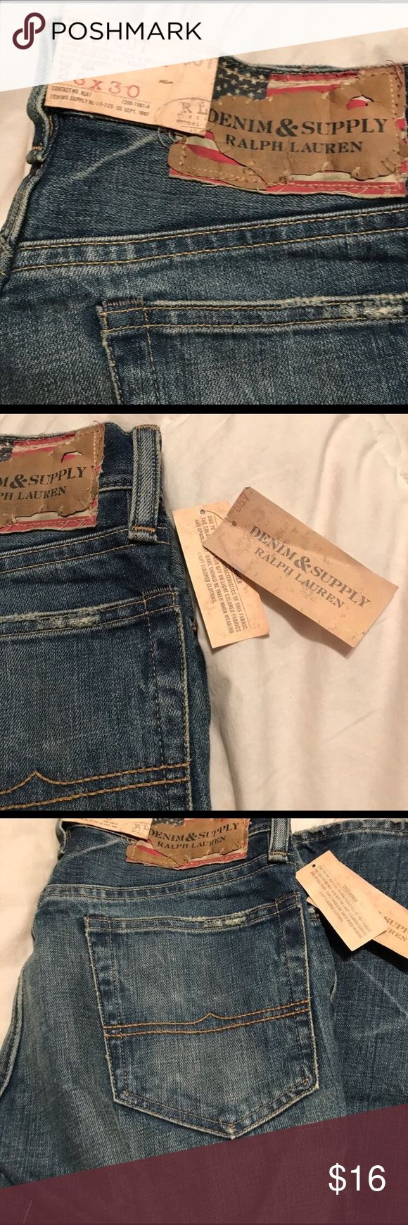 Denim & Supply Ralph Lauren Mens Bootcut Jeans 28 New Ralph Lauren Men's Bootcut Jeans  Size: 28x30  Wash/style: Medium wash, distressed, classic bootcut with medium rise, slim leg and wider bottom opening  Condition: New with tags (tags are included but were removed from jeans when trying them on, never been worn) - bought these NWT from another Posher for my fiancé but they were a little too tight around his waist. Denim & Supply Ralph Lauren Jeans Bootcut #mensjeansbootcut