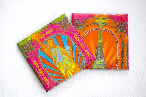 Ceramic coasters  Paris & New York  Neon Glam  set by mayagencic, $17.00