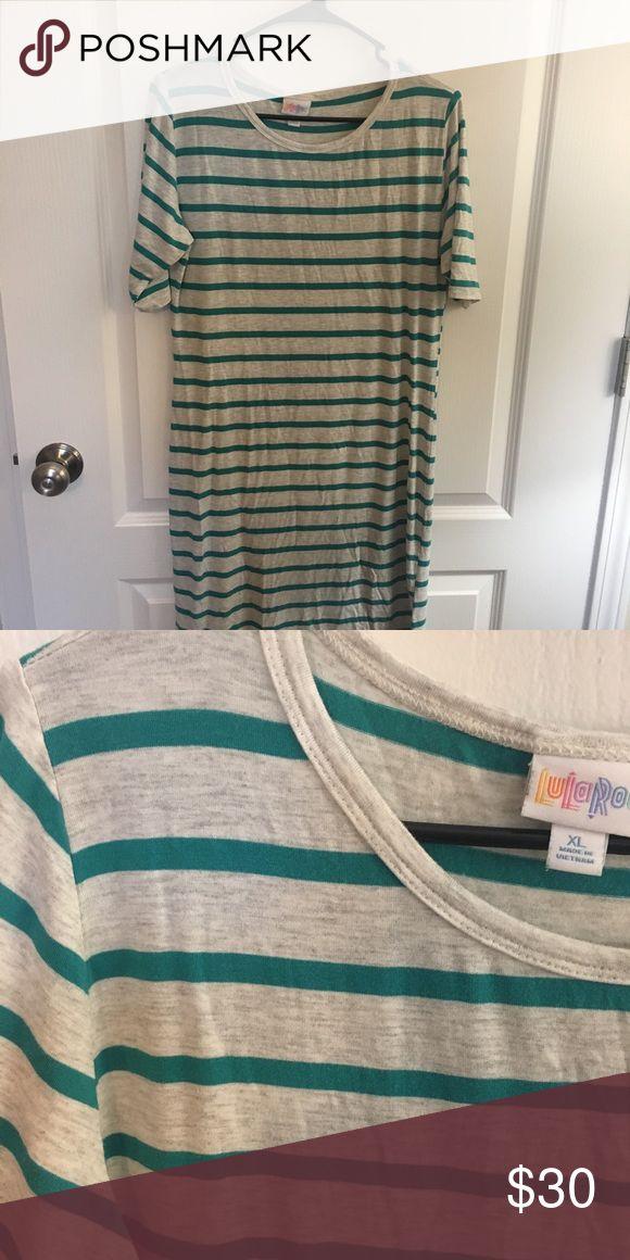 Lularoe Julia Size XL in great condition Grey and teal striped Julia size XL in great condition!  Worn once LuLaRoe Dresses