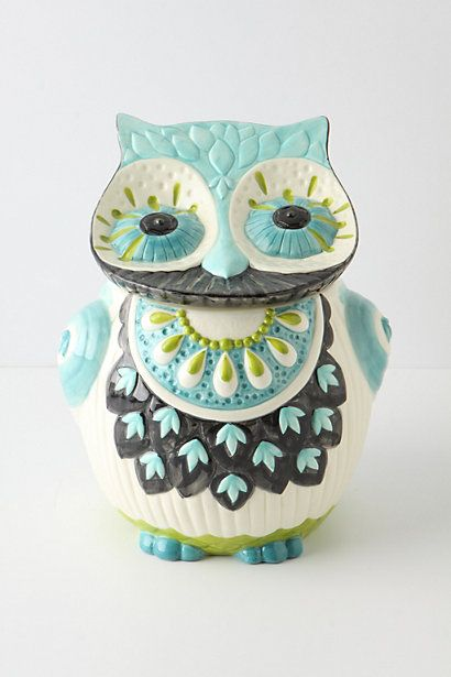 owl cookie jar $68 {anthropologie}: Kitchens, Decor, Bubo Cookies, Anthropology With, Anthropology, Owl Cookies Jars, Color, Cute Owl, Cookie Jars