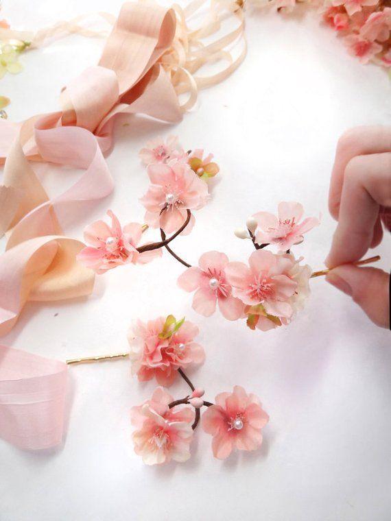 Cherry Blossom Hair Pins Pink Flower Hair Pin Cherry Blossom Etsy Silk Flower Hair Clip Pink Flower Hair Flower Hair Pin